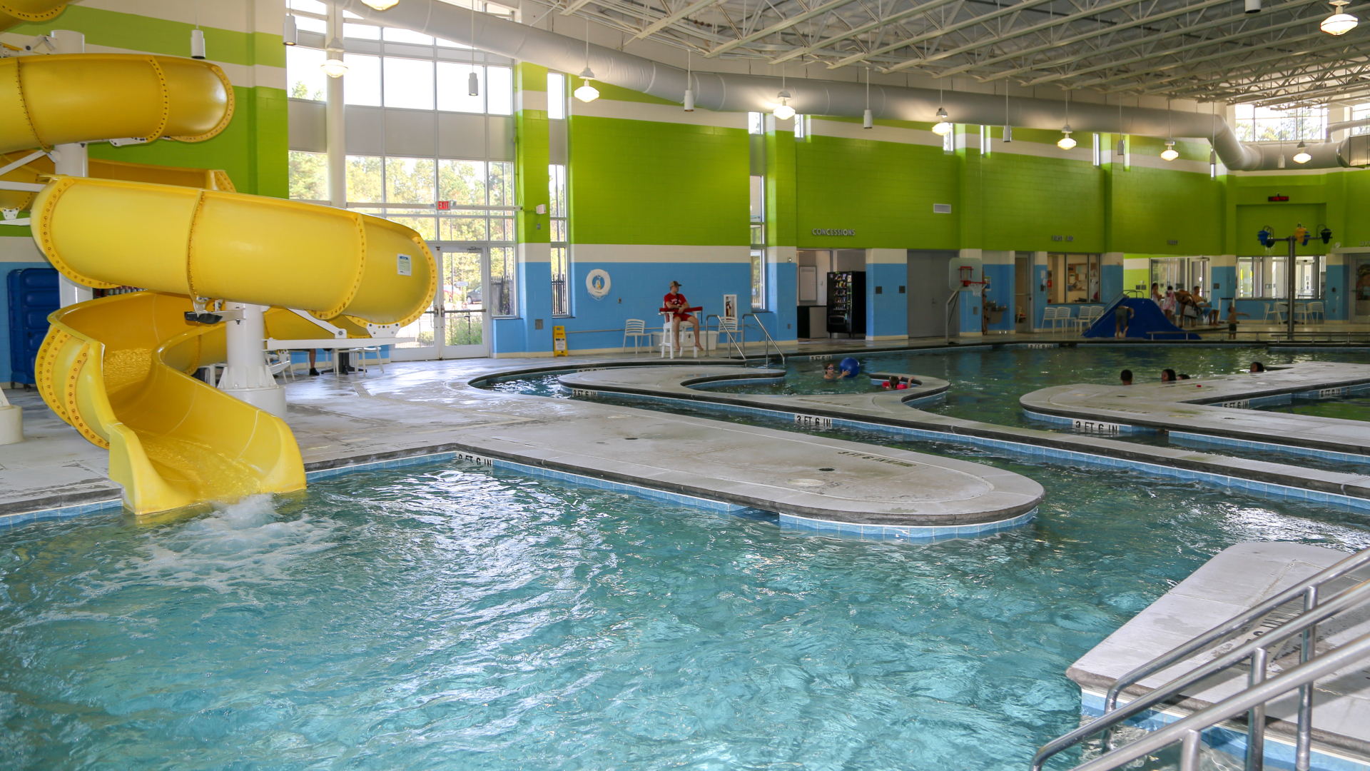 View of the slide and pool of the Buffaloe Road Aquatic Center