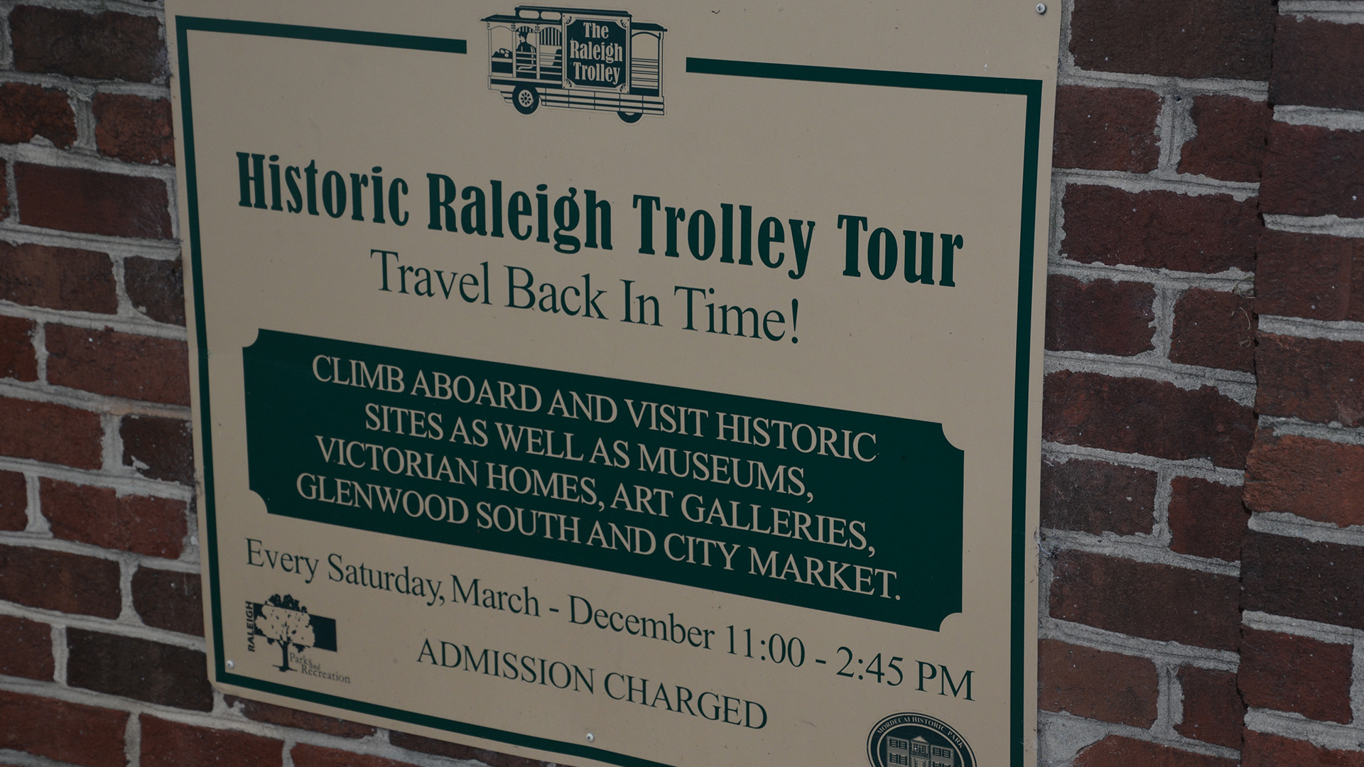 Sign for the Raleigh Trolley.