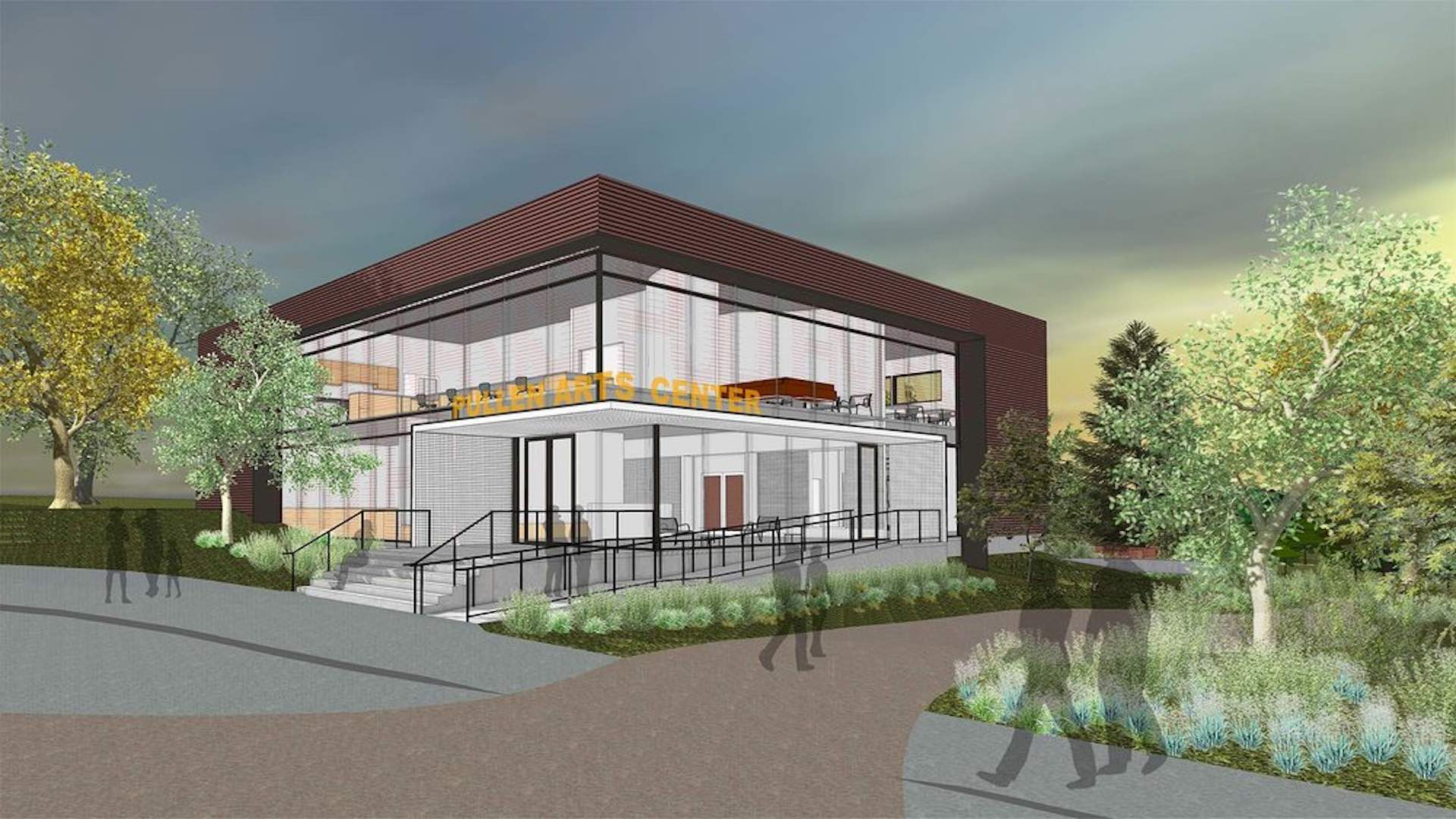 Architect's rendering of the new front entry planned as part of the expansion and renovation of the Pullen Art Center