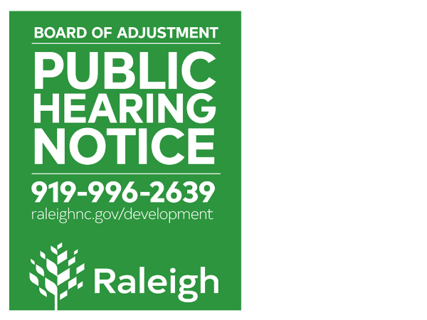 Board of Adjustment Public Hearing Sign