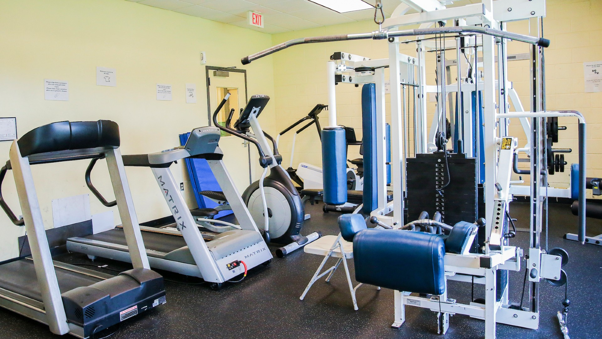 weight machines and treadmills within chavis park fitness room