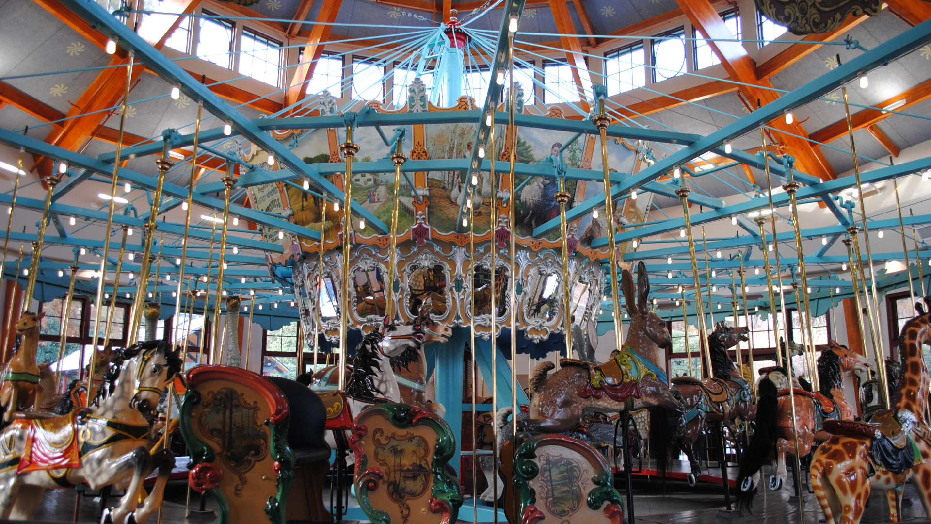 Inside of the Pullen Park historic carousel