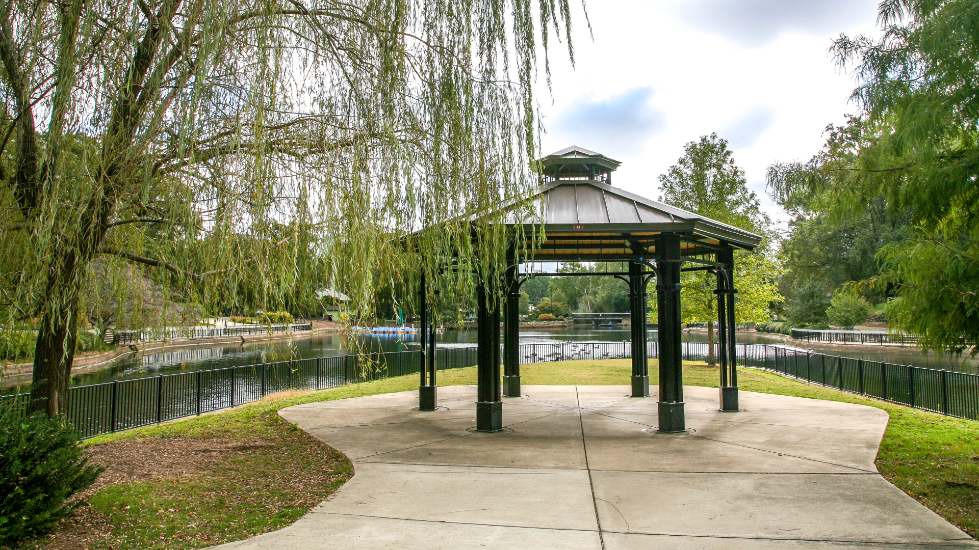View of gazebo at Pullen Park on island with view of water