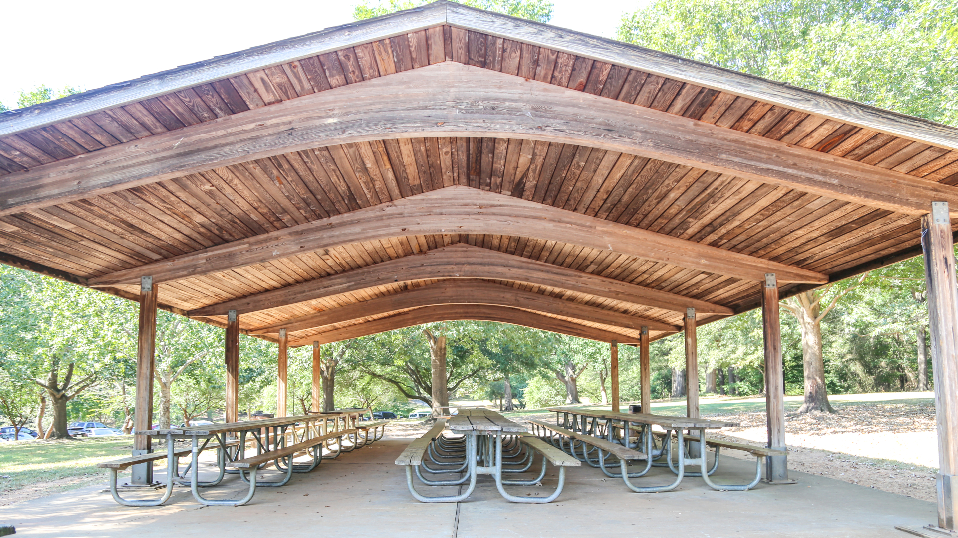 View of shelter 1 at Pullen Park with covered tables