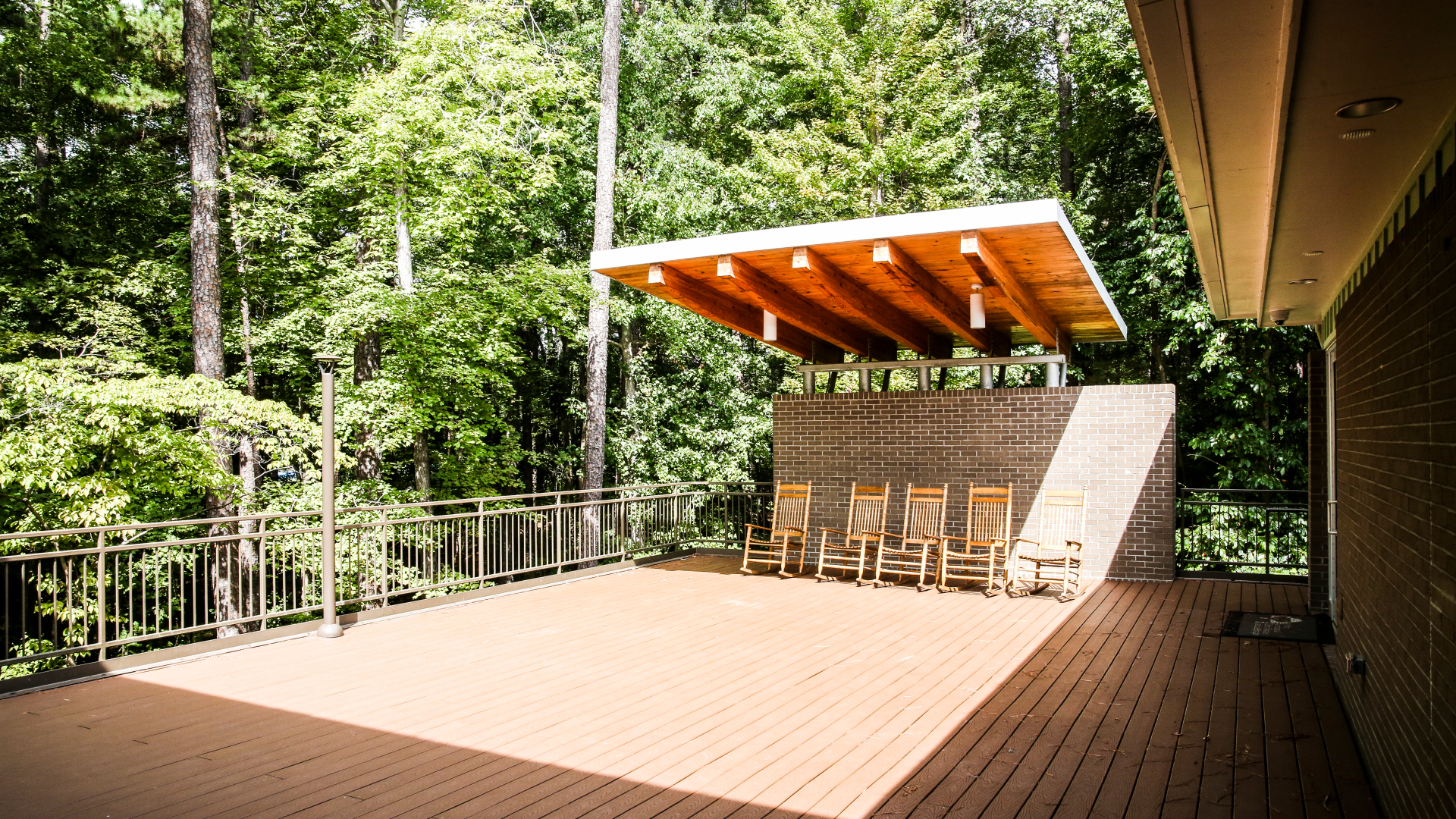 View of the deck at the Crowder Woodland Center