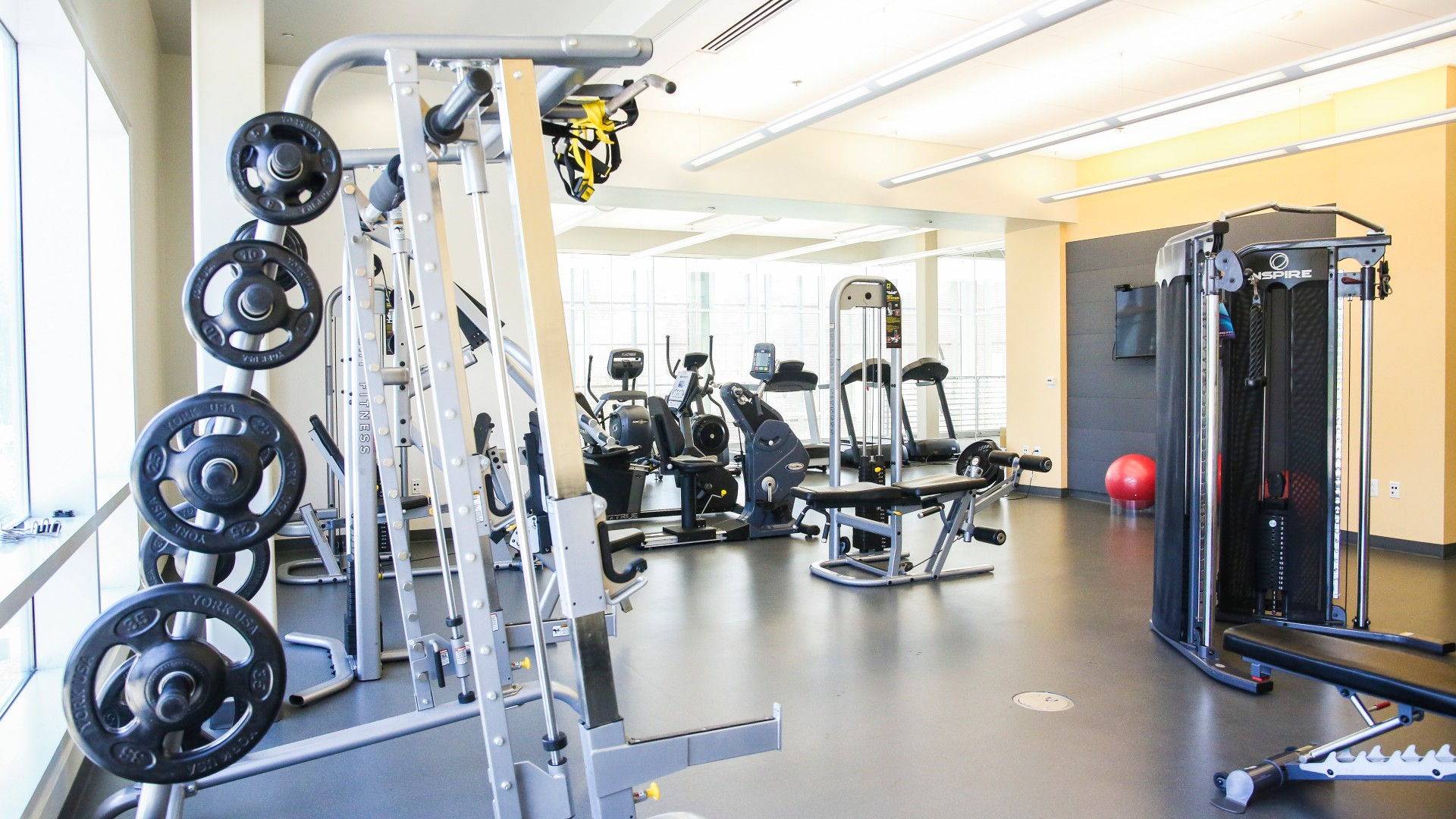 Fitness room at Abbotts Creek Park with multiple machines, cardio equipment and free weights.