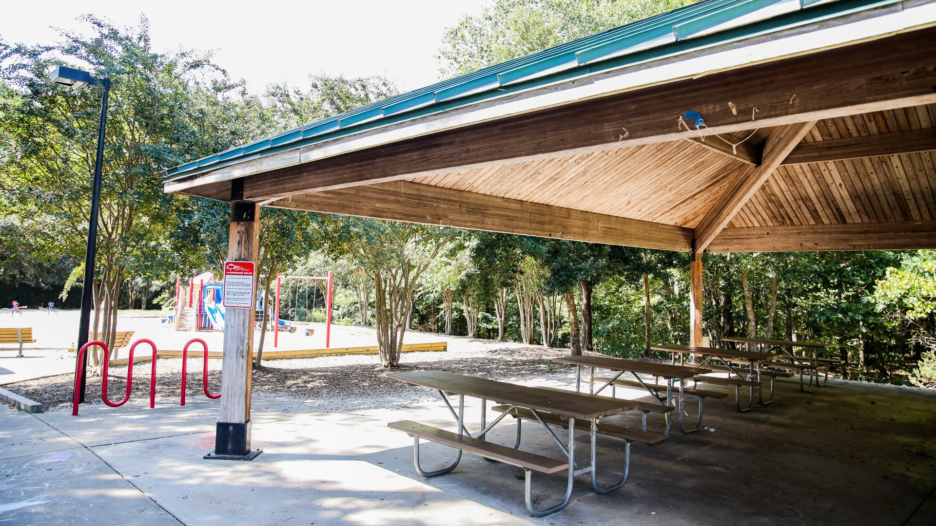 A large outdoor picnic shelter at Baileywick Park next to the playground