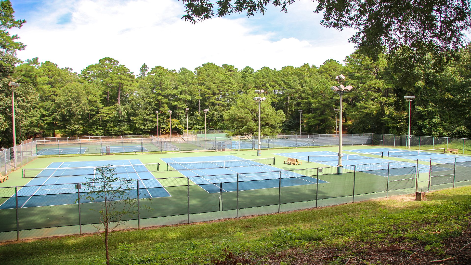 Shot of the eight tennis courts at Biltmore Hills Park