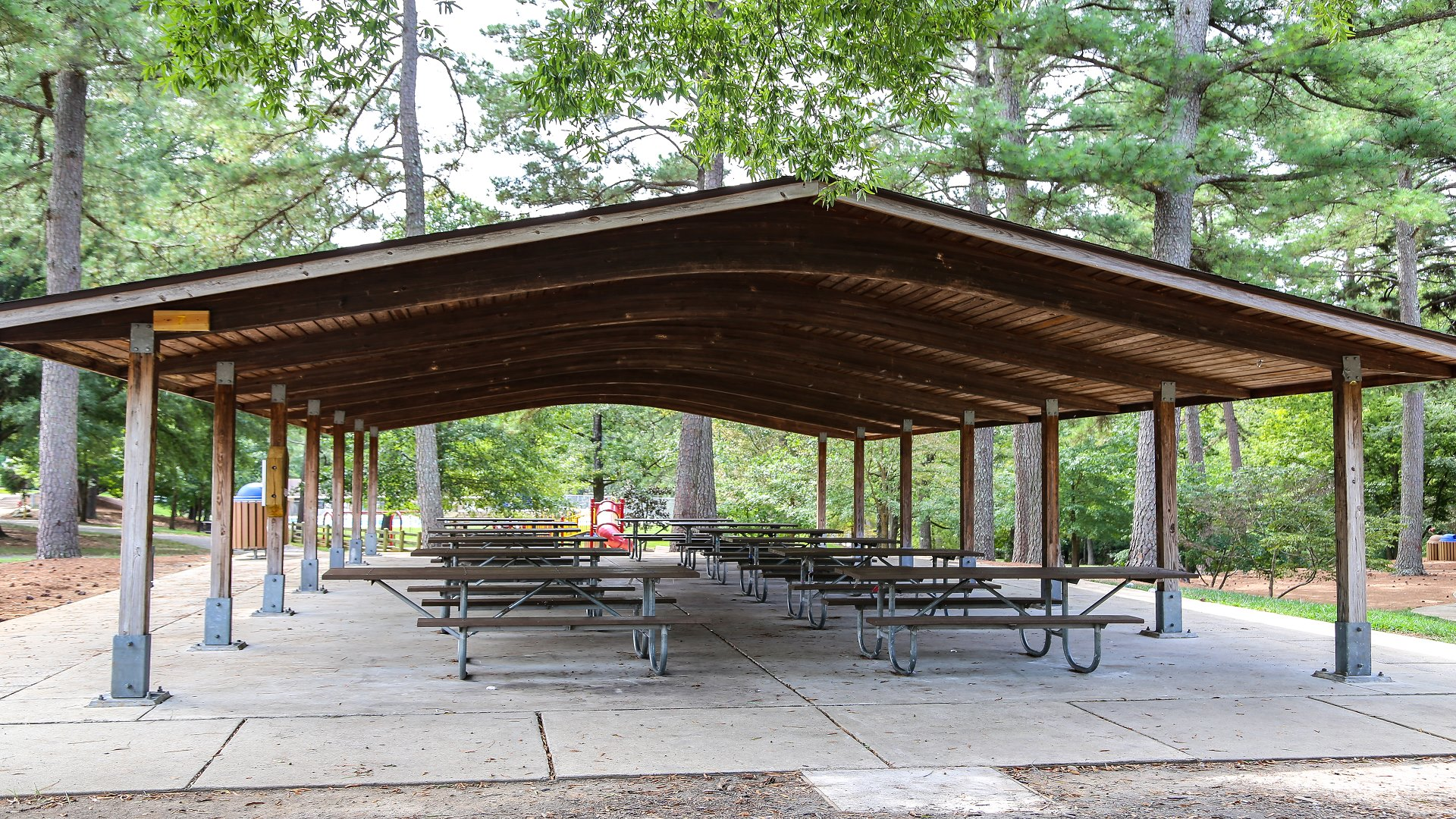 A second larger picnic shelter with 13 tables at Biltmore Hills Park