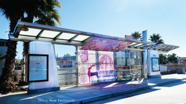 Artwork on bus shelter for bus rapid transit