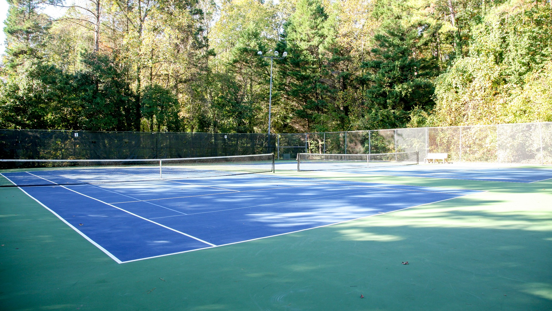 Outdoor tennis courts at Glen Eden Pilot Par. There are four courts total
