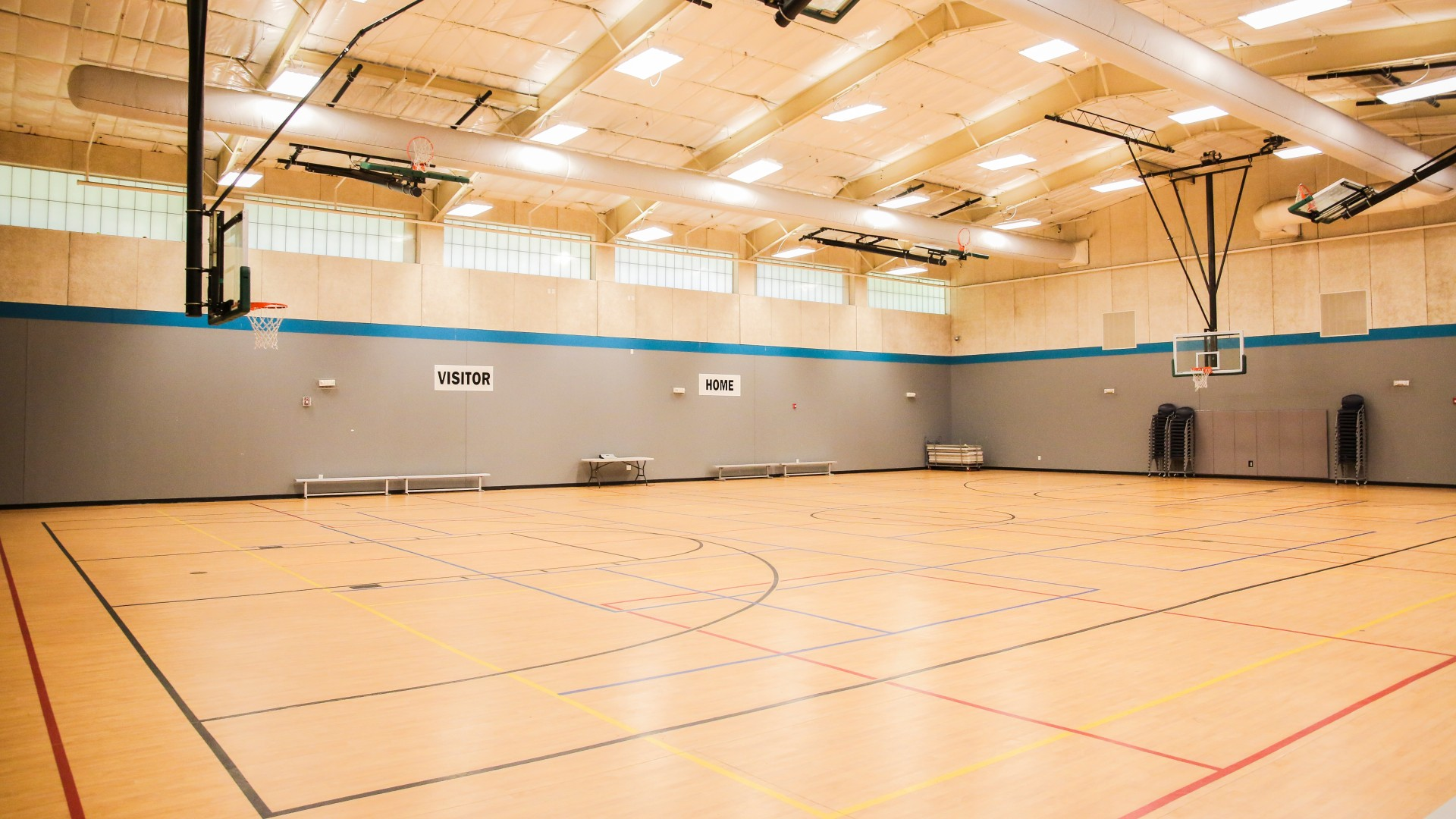 A second gymnasium with basketball courts at Green Road Park