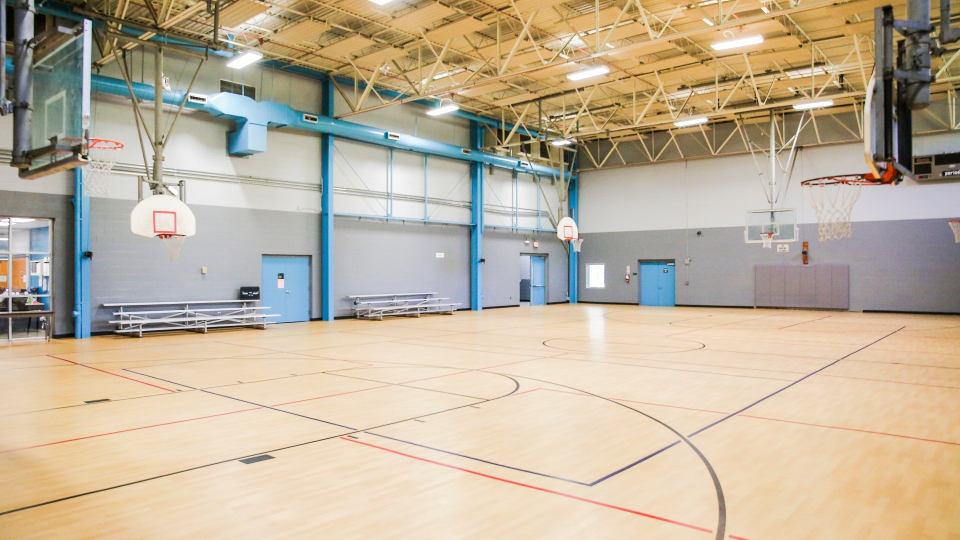One of two gymnasiums with basketball courts at Green Road Park