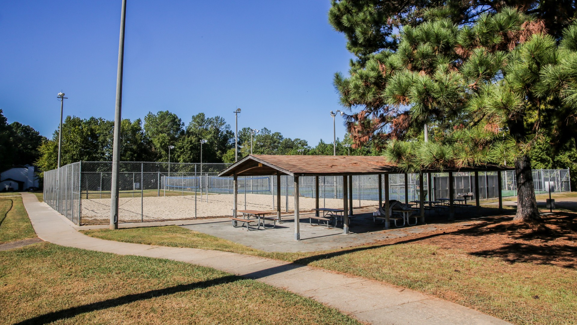 Picnic shelter located next to the sand volleyball courts at Green Road Park
