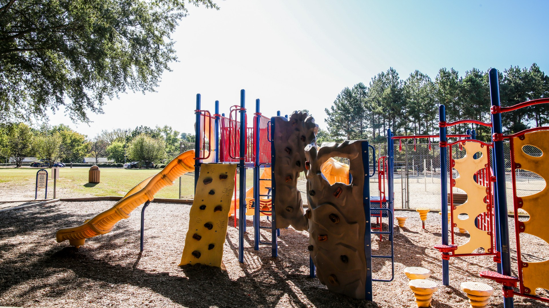 Shot of the playground at Green Road park including slides
