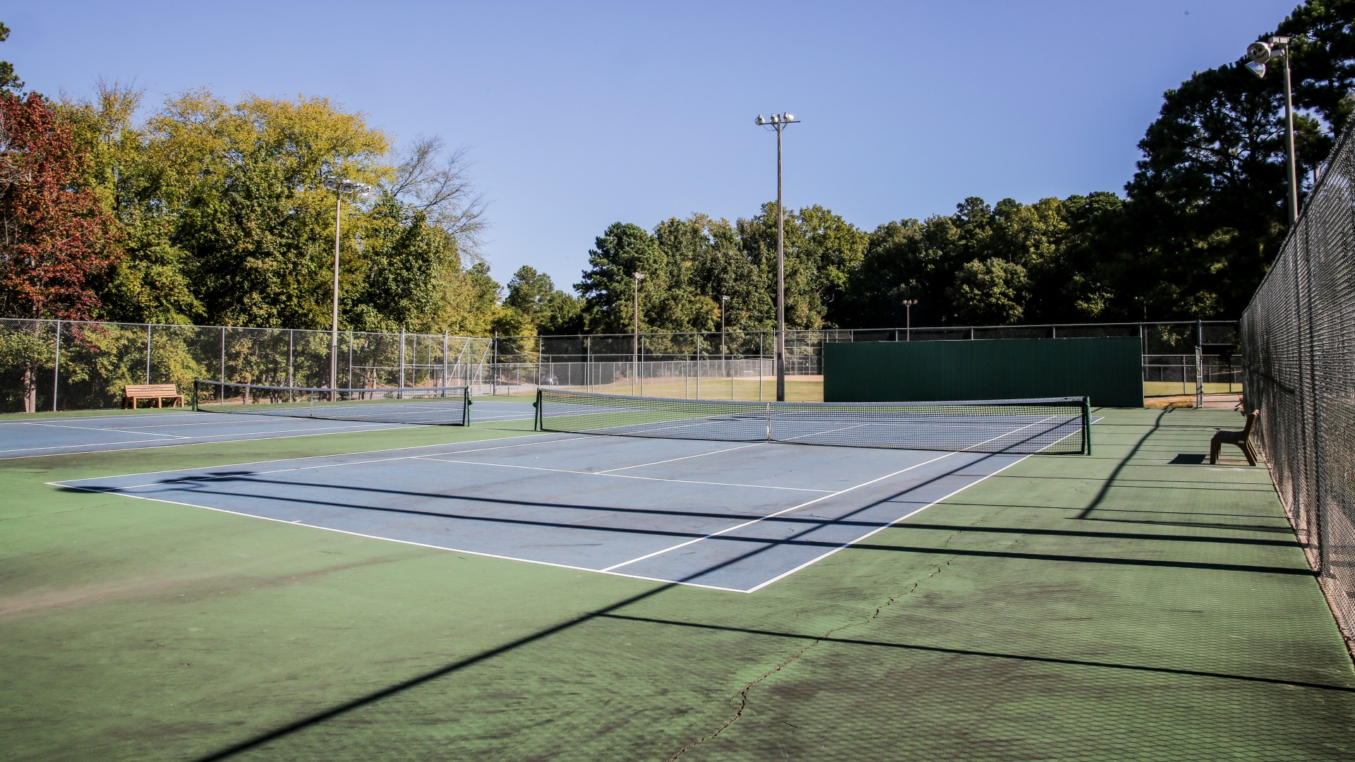 Shot of the four outdoor tennis courts at Green Road Park