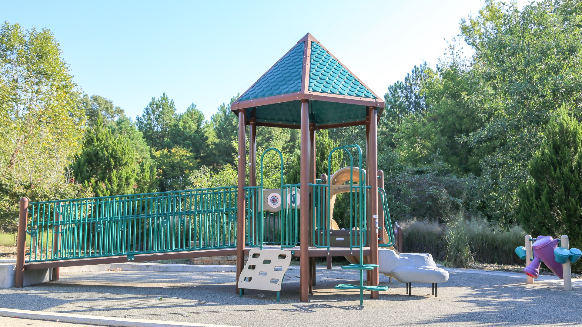 A smaller playground with slides and climbing equipment at Marsh Creek