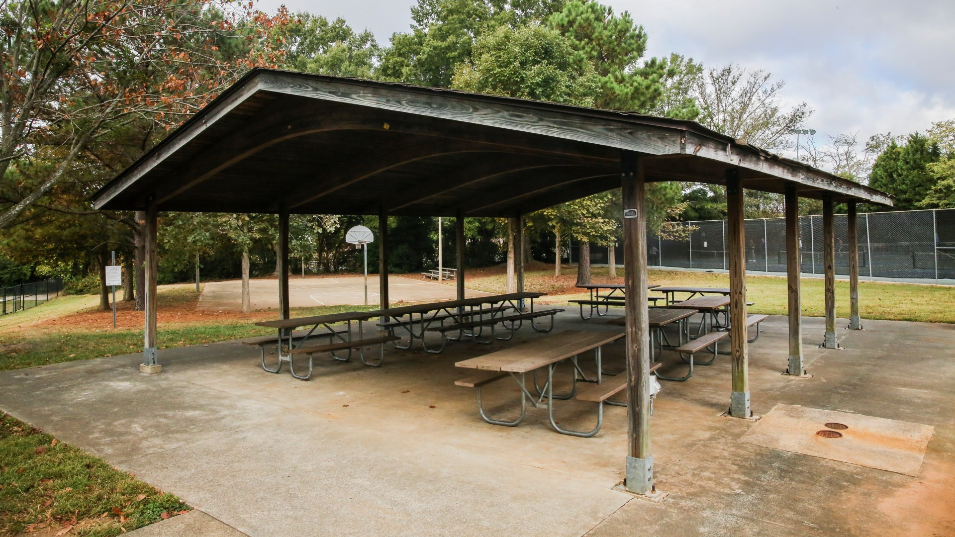 Outdoor picnic shelter at Method Road Park