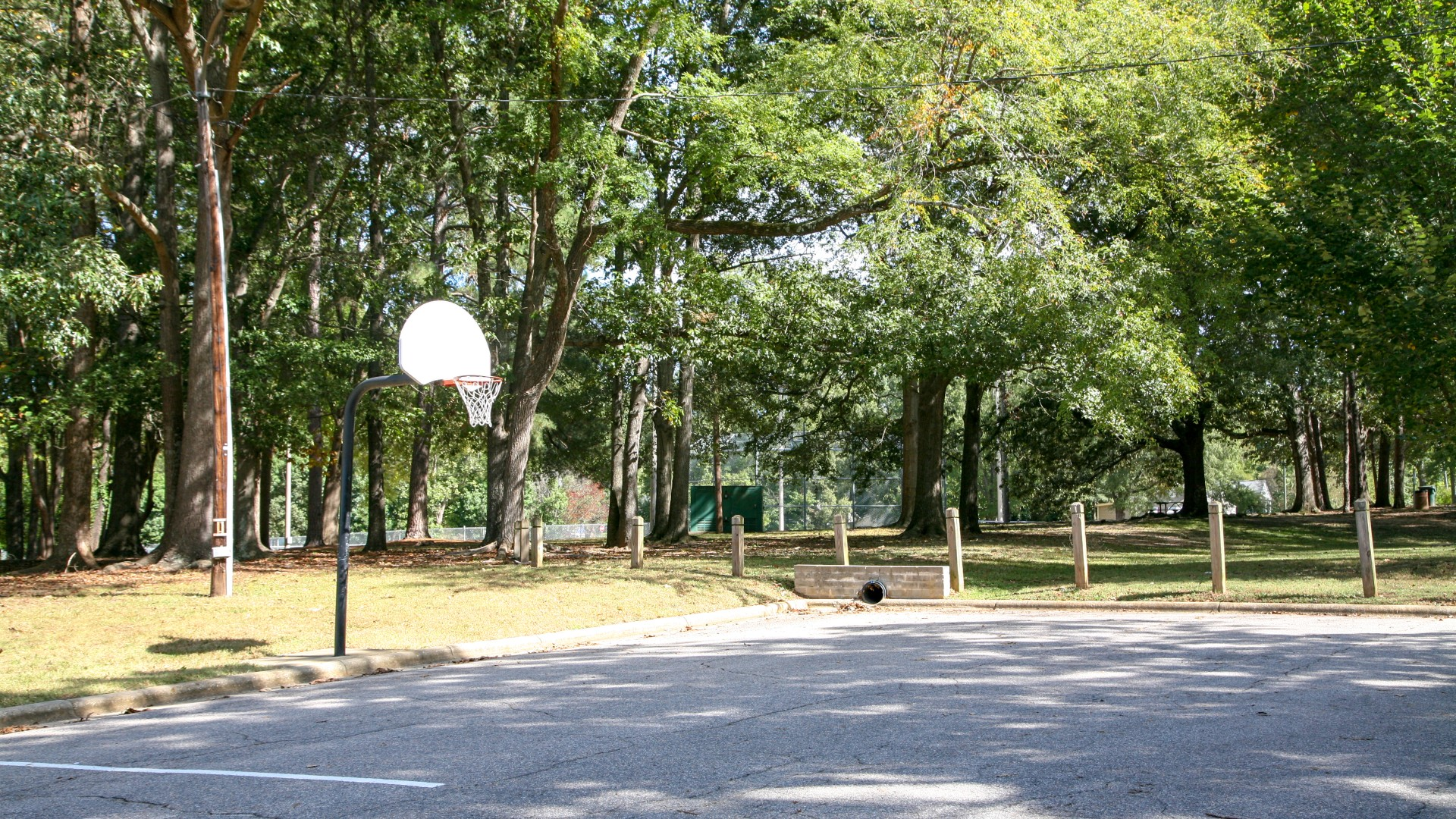 Outdoor basketball court with two hoops and concrete surface and Oakwood Park