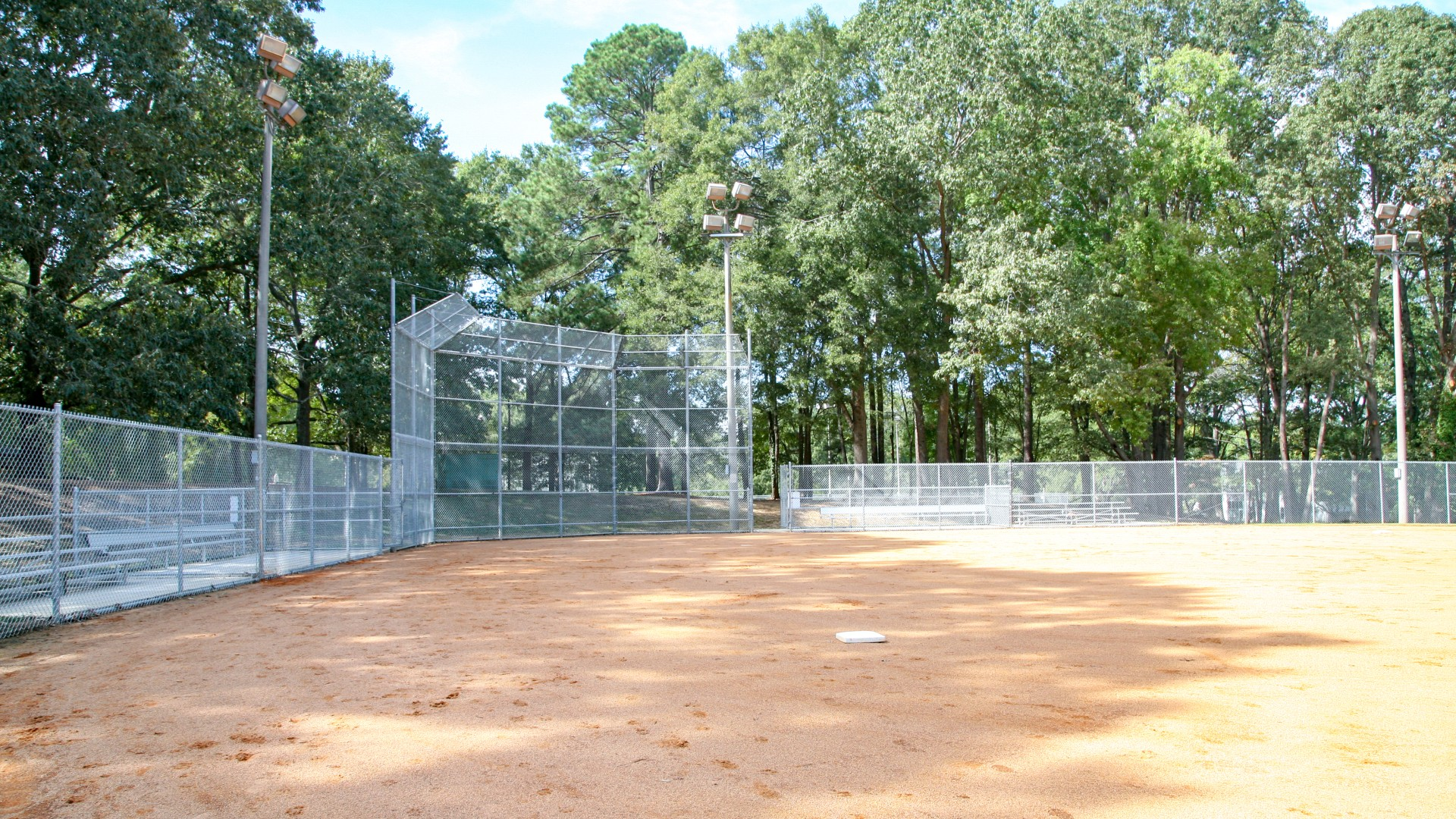 One of two outdoor softball fields at Oakwood Park
