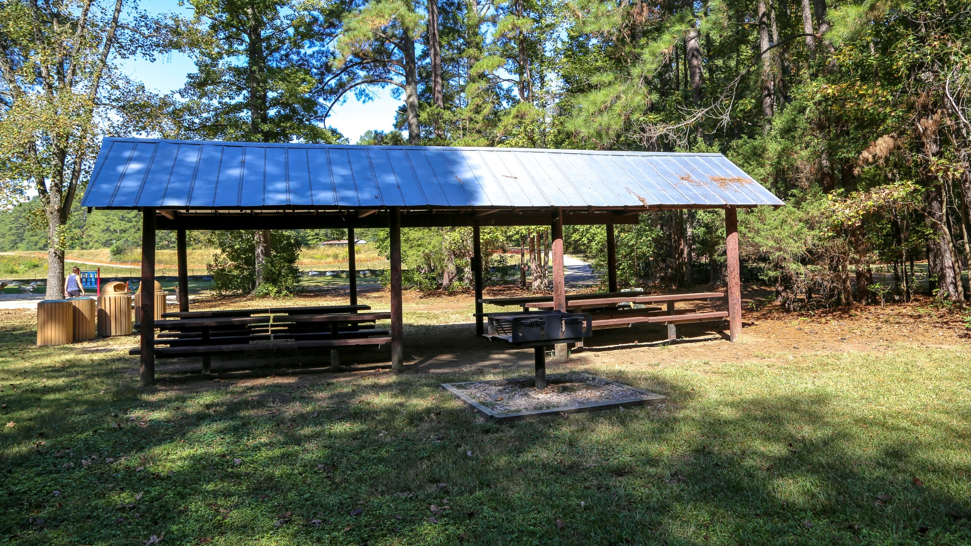 A second slightly smaller outdoor picnic shelter