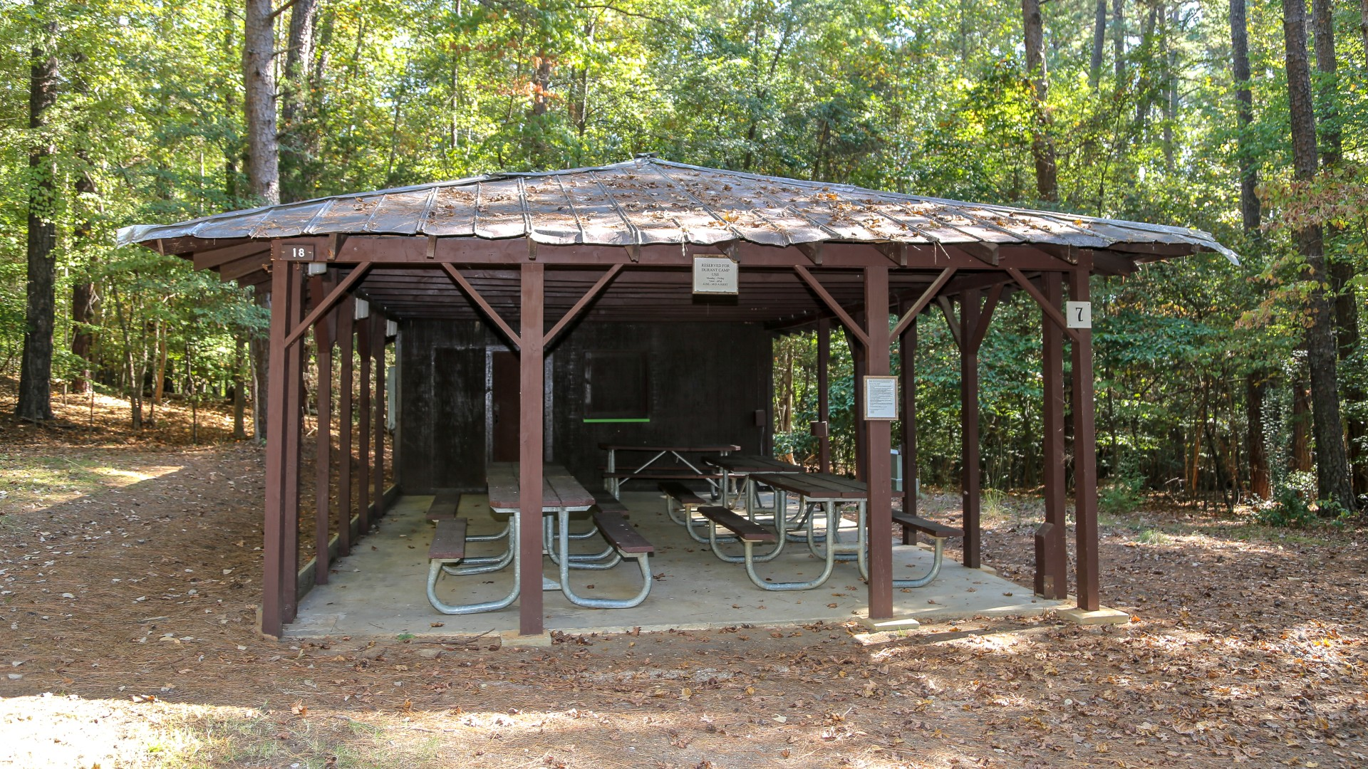A third outdoor picnic shelter