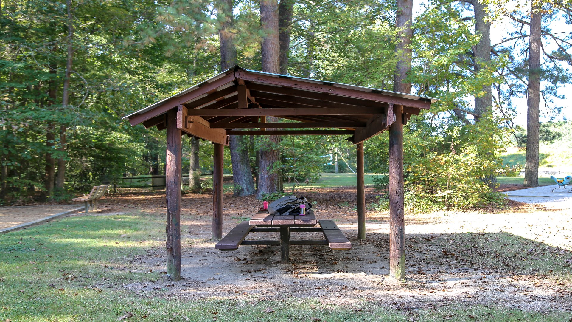 One of the individual picnic tables