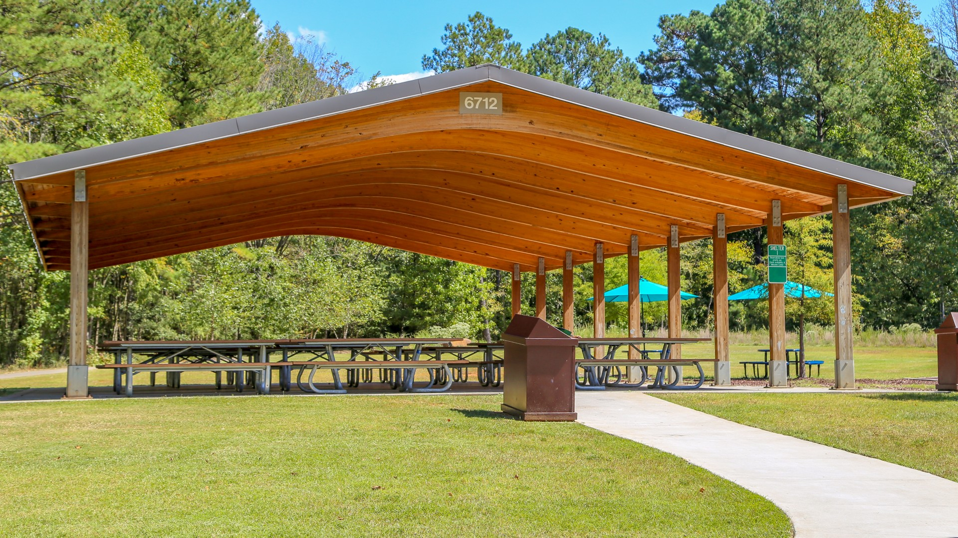 One of two picnic shelters with multiple seating and two grills