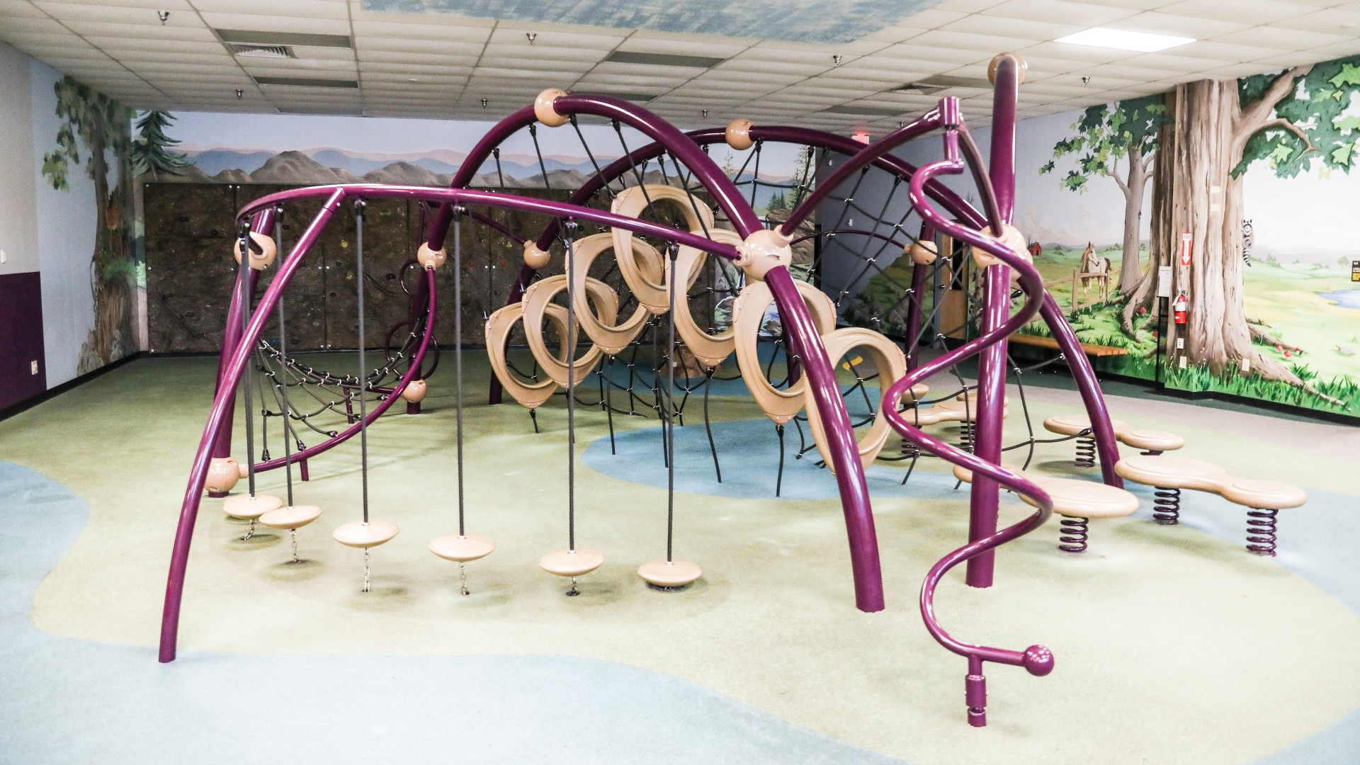 An indoor playground with climbing equipment and more