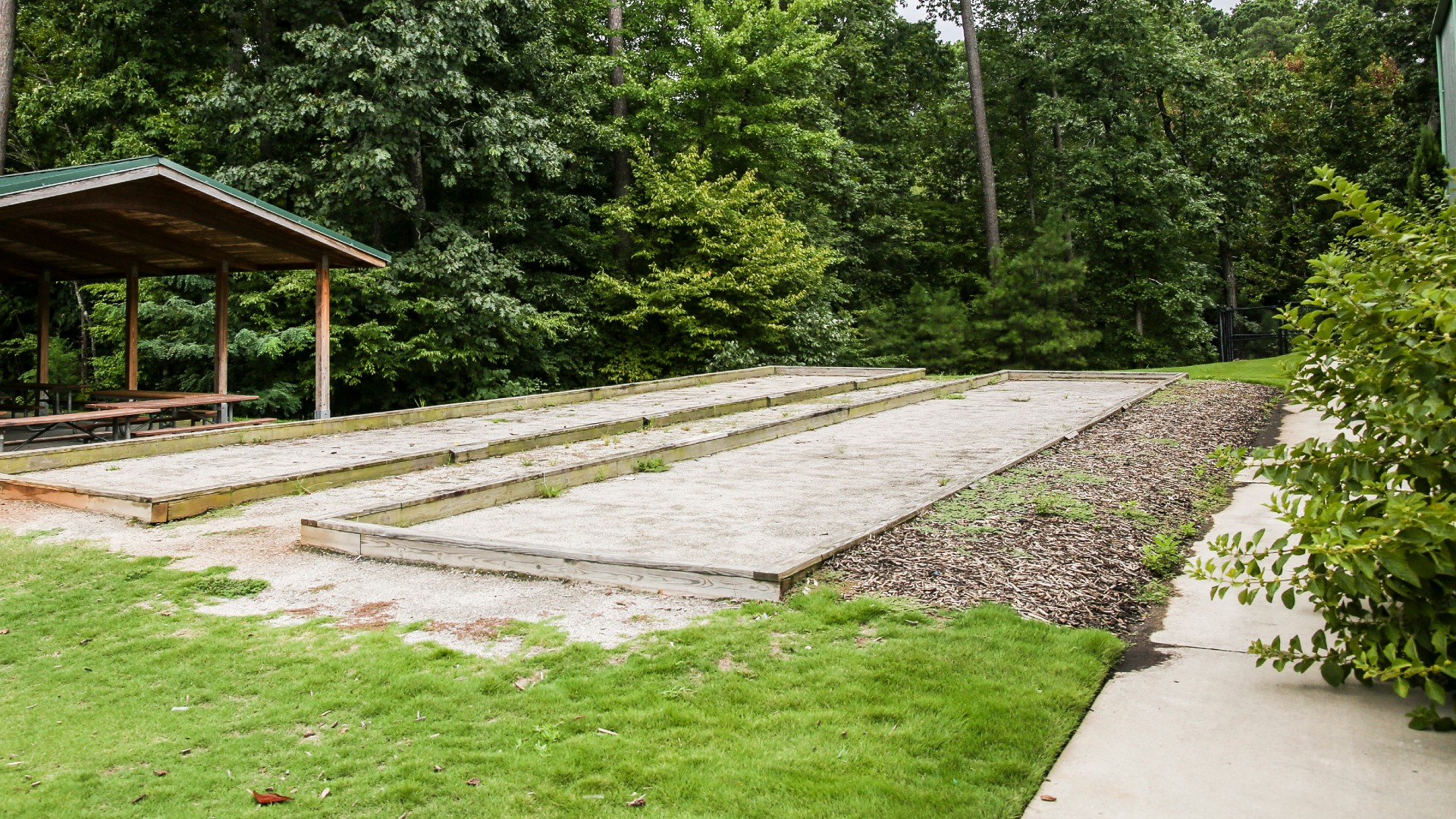 Two outdoor bocce courts