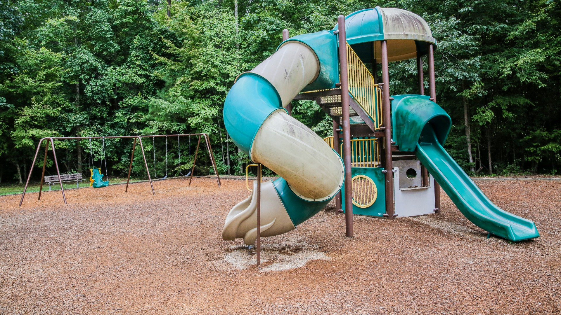 A second larger playground for older kids