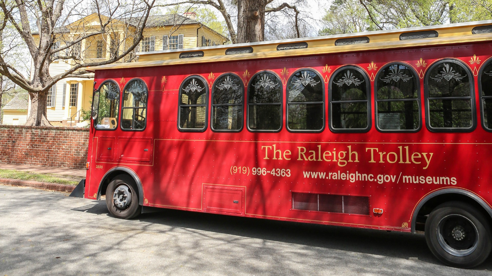 The historic red Raleigh Trolley