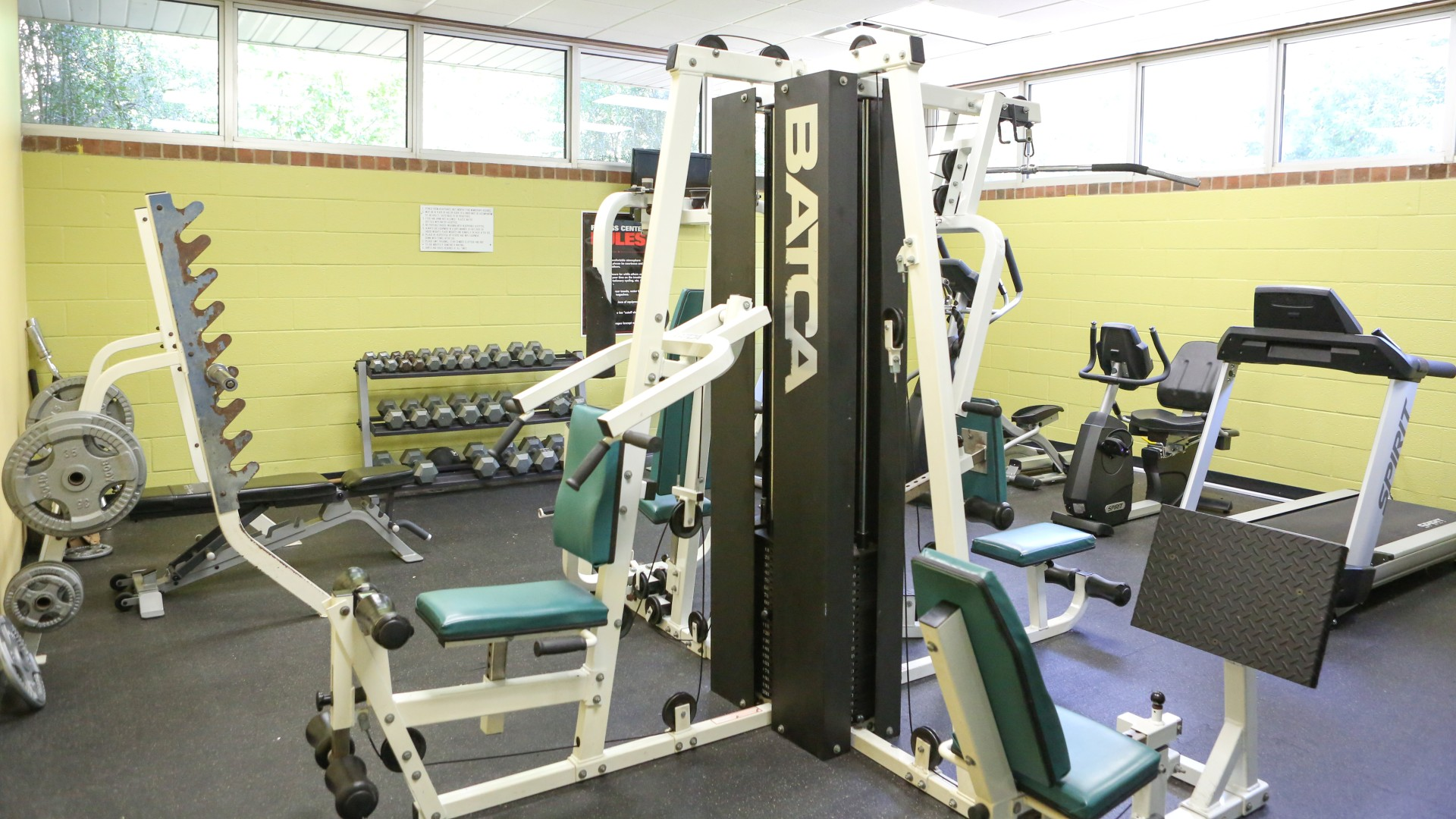 A variety of gym equipment and weights