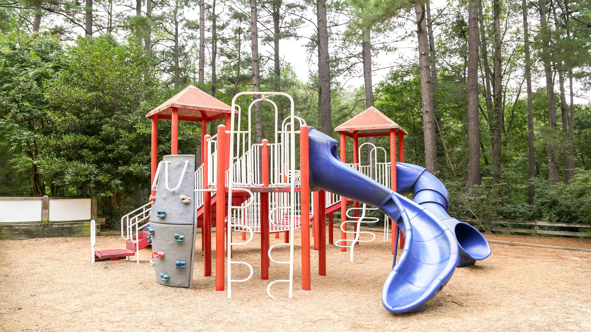 A second large playground for older kids with a bigger slide and climbing equipment