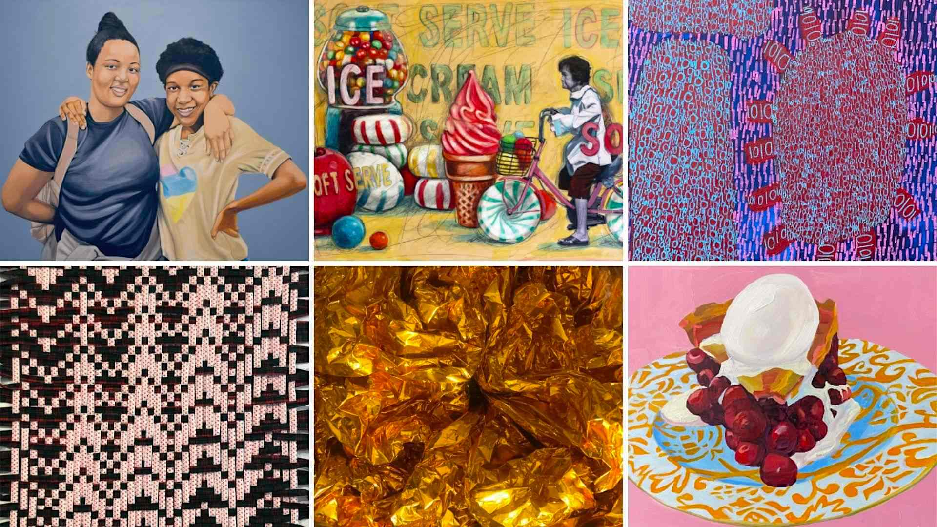 A grid of 6 artworks by Clarence Heyward, Stacy Crabill, King Godwin, Jeana Eve Klein, Ginger Wagg, and Rachel Campbell.