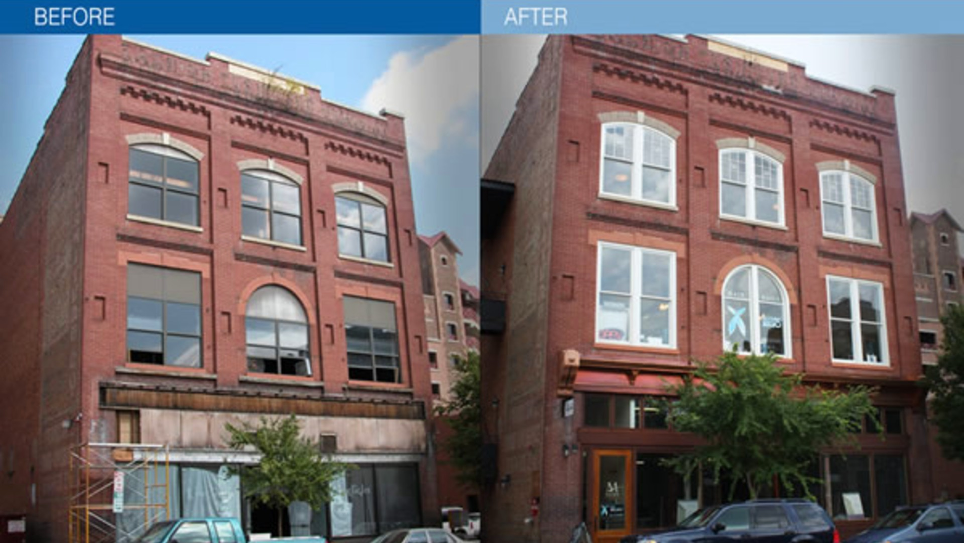 brick facade before and after hargett street