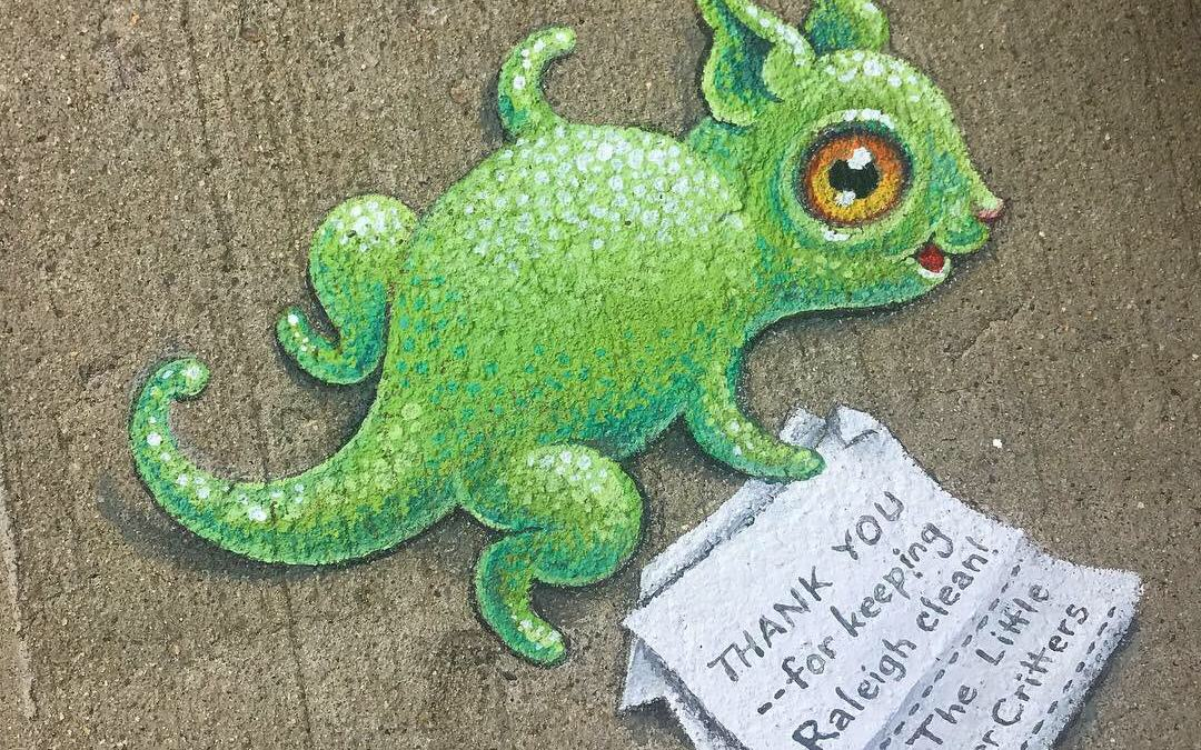"Sidewalk mural of a small green monster picking up trash that reads, ""Thank you for keeping Raleigh clean! - The Little Litter Critters"""