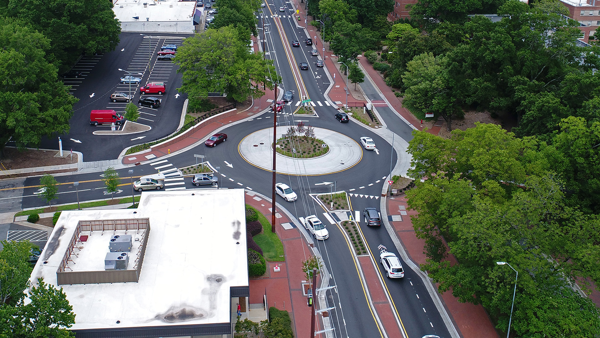 Roundabout at Hillsborough St and Brooks Ave. intersection