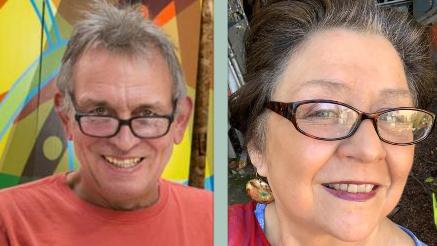 Joel Heidel's headshot on the left and Angelina Marino-Heidel's headshot on the right