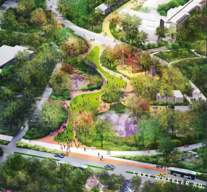 Birds eye view of the Dix Park Plaza and Play concept