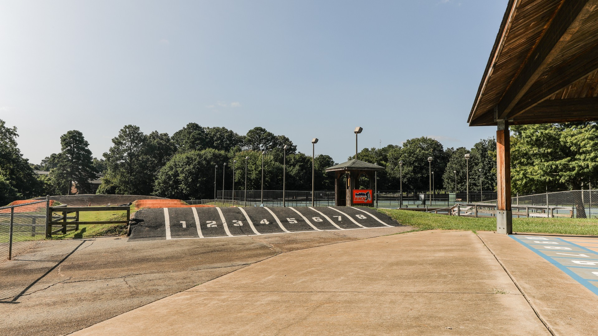 The start of the Capital City BMX track, with several dirt racing lanes