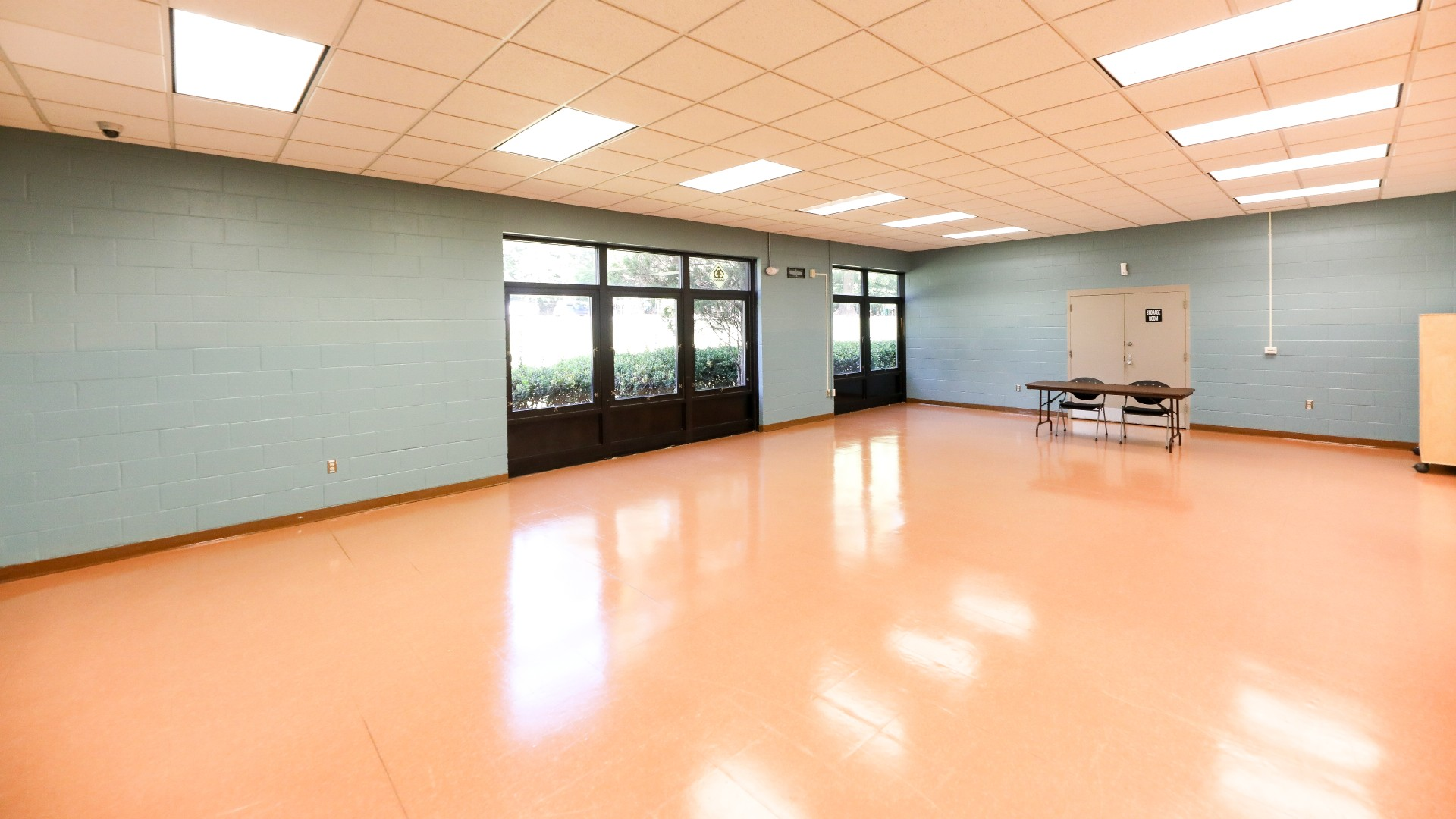 A large open room with room for classes, meetings or games