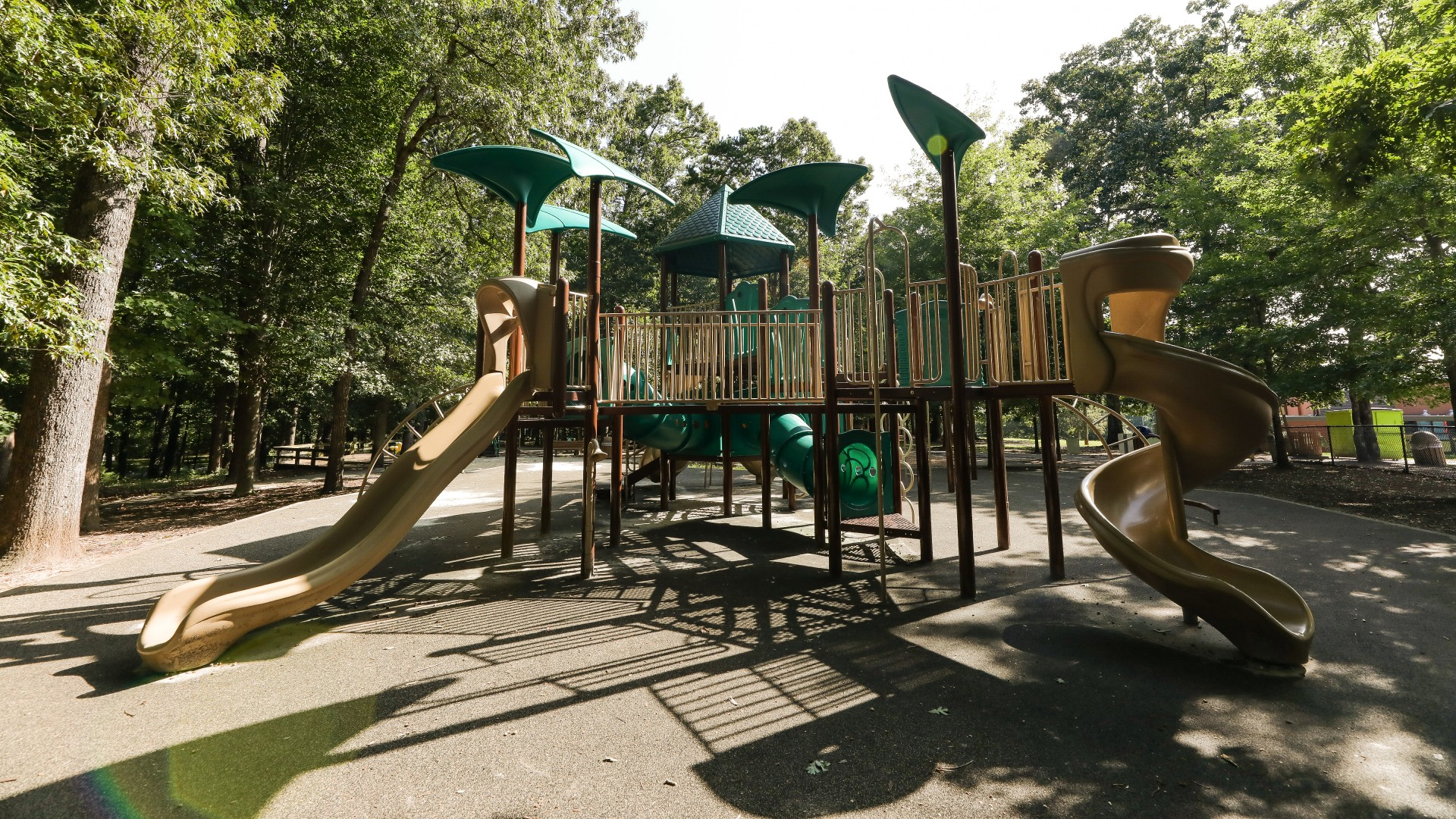 A second larger playground for older kids with more advanced equipment