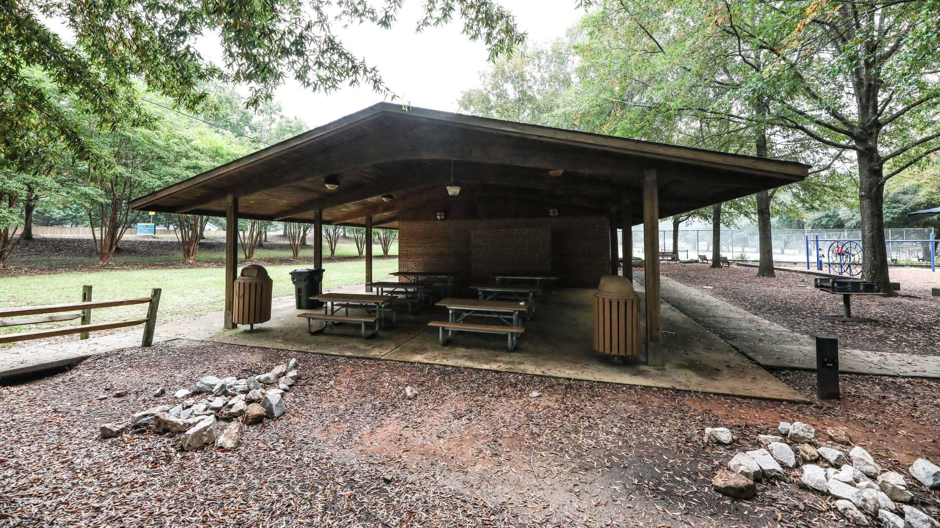 The picnic shelter at Williams Park with multiple tables