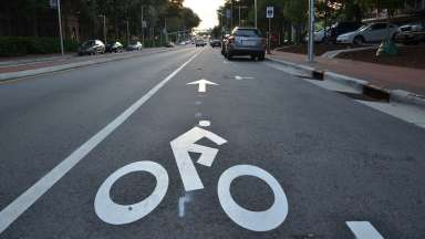 Bike lane on Hillsborough street in Raleigh