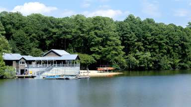 Lake Johnson and the boat house