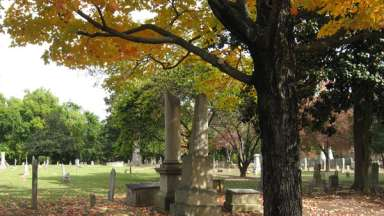 VIew of a City of Raleigh historic cemetery