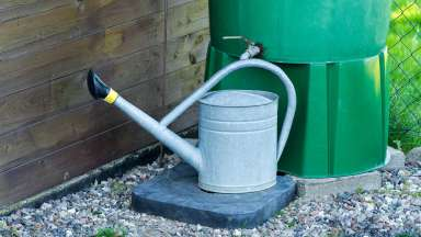 A tin watering can connected to a green rain barrel