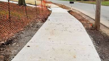 Sidewalk construction on Yadkin Drive