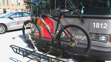 Bus with a bike loaded on the front rack